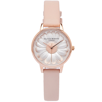 OLIVIA BURTON 玫瑰金立體小雛菊手錶(OB16FS87)-玫瑰金色/30mm