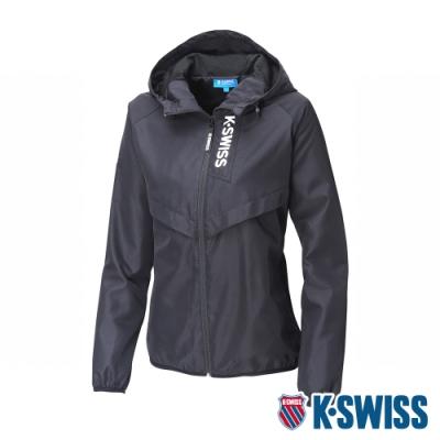 K-SWISS Solid Track Jacket抗UV風衣外套-女-黑