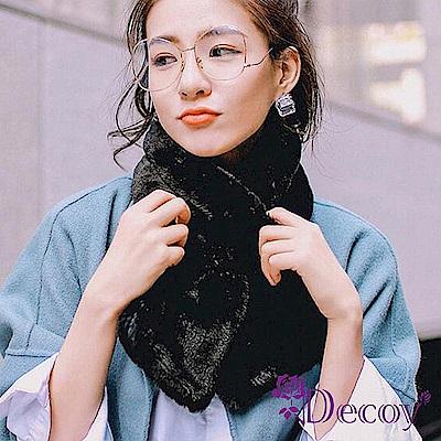 Decoy 輕柔兔毛 加厚交叉固定保暖圍巾 淺粉