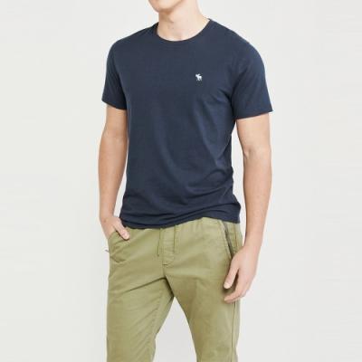 麋鹿 AF A&F 經典圓領電繡麋鹿素面短袖T恤(BONL)-深藍色