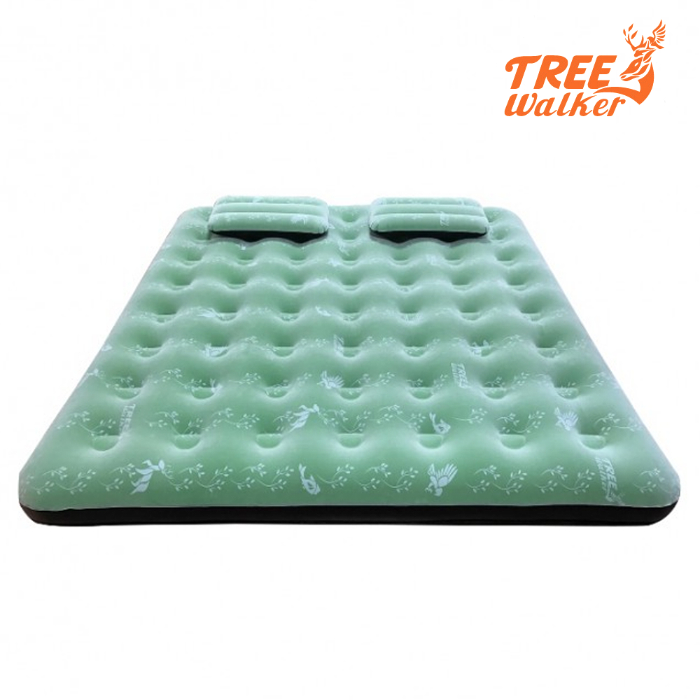 TreeWalker 鏕遊趣雙印植絨充氣床(附雙枕頭與打氣筒)