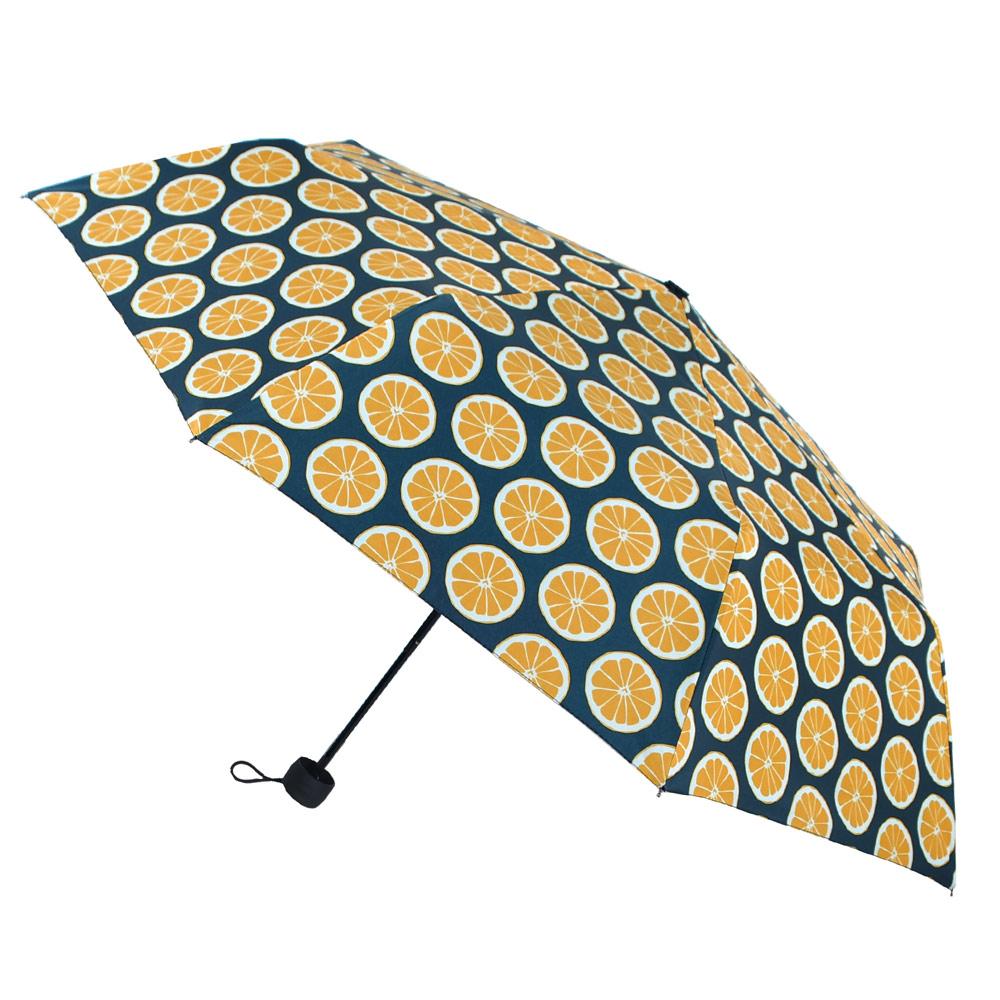 2mm 100%遮光 繽紛檸檬黑膠降溫手開傘(橘色)