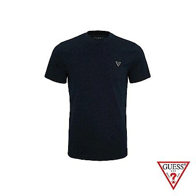 GUESS-男裝-簡約素面LOGO短T,T恤-深藍 原價1290