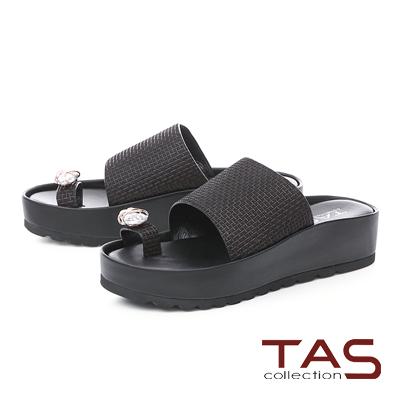 TAS水鑽拇指環格紋牛皮厚底拖鞋-經典黑