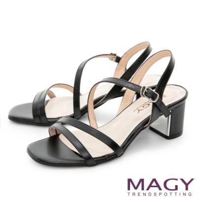MAGY 細版真皮斜邊踝繞帶中跟 女 涼鞋 黑色