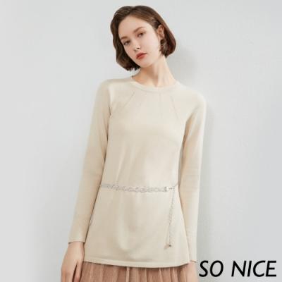 SO NICE優雅亮蔥紗線長版針織上衣