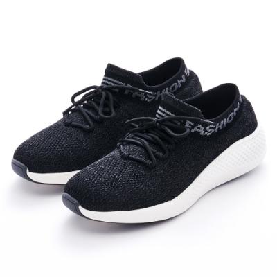 G.Ms. MIT極輕量-針織襪子造型綁帶休閒運動鞋-黑色