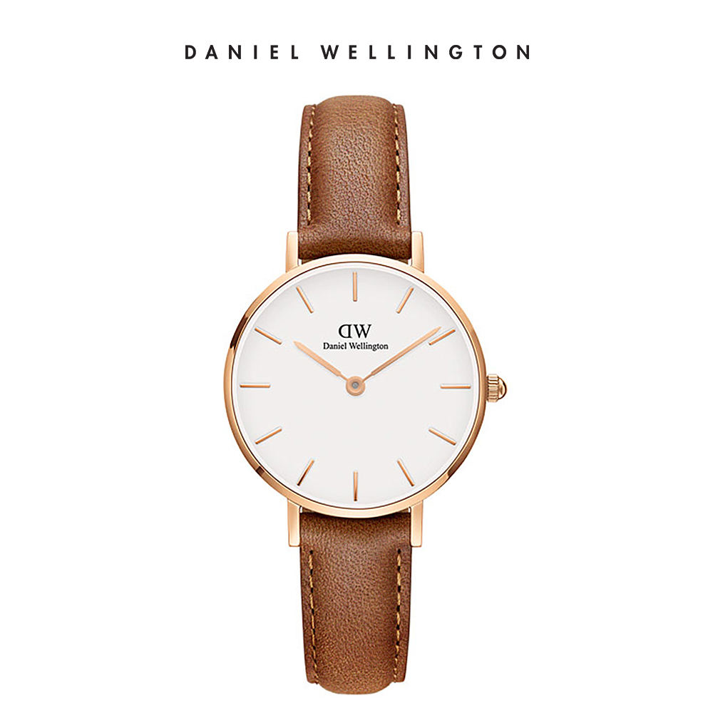 DW 手錶 官方旗艦店 28mm玫瑰金框 Petite 淺棕真皮皮革錶