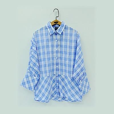 gozo 立體壓紋七分袖格紋襯衫(二色)