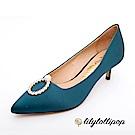 Lilylollipop-Luxury 珍珠環緞面跟鞋--暗藍綠