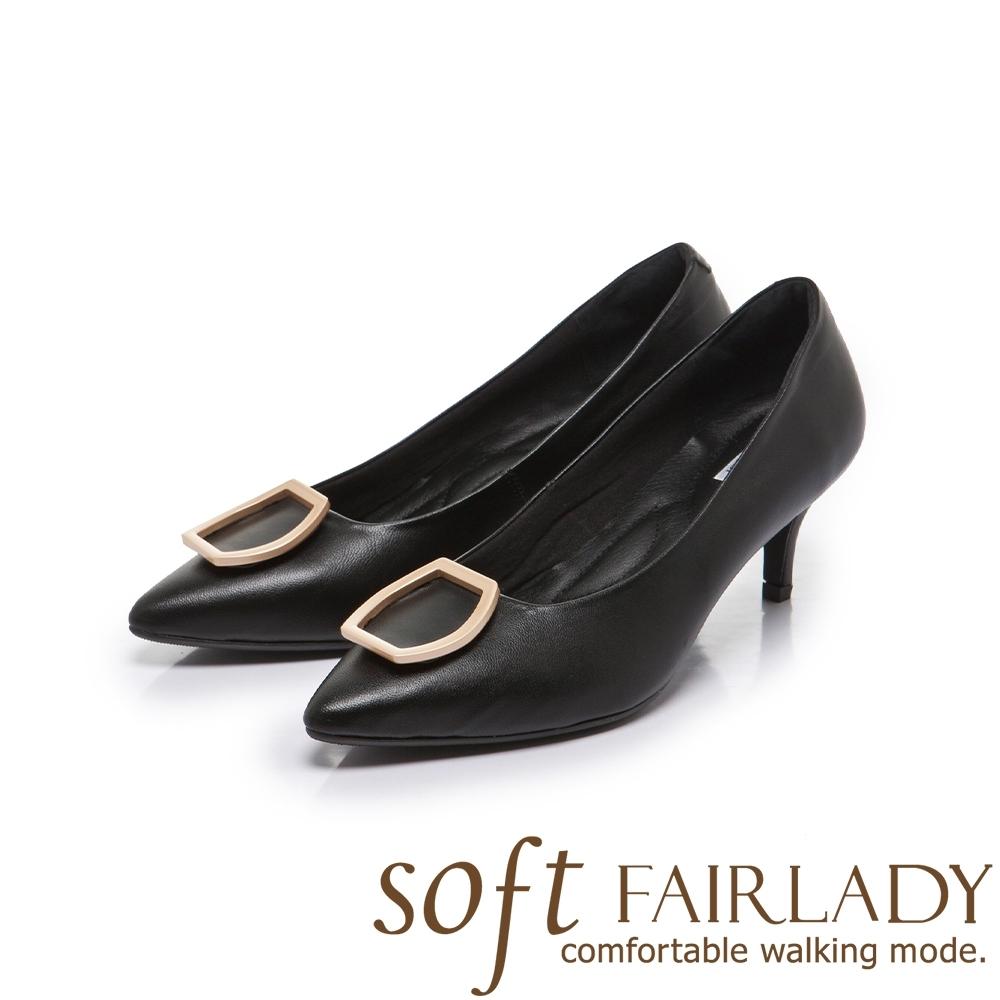 FAIR LADY Soft芯太軟 真皮壓紋⽅框尖頭高跟鞋 黑