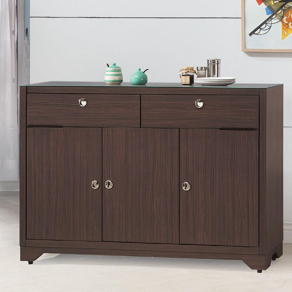 MUNA 日式和風胡桃色4尺餐櫃(不含玻) 121X40.5X89cm