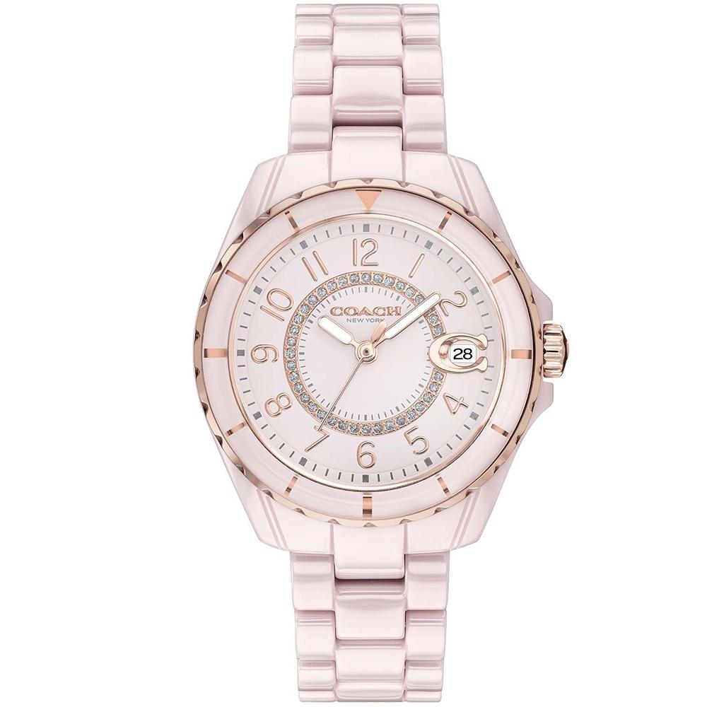 COACH 時尚小香款晶鑽陶瓷腕錶(14503463)-粉/32mm