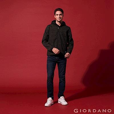 GIORDANO 男裝低腰彈力刷色窄管牛仔褲-62 深藍