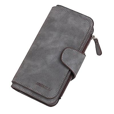 JINBAOLAI  GT3301BK長款磨砂面料搭扣女士韓版三折手機長夾黑色