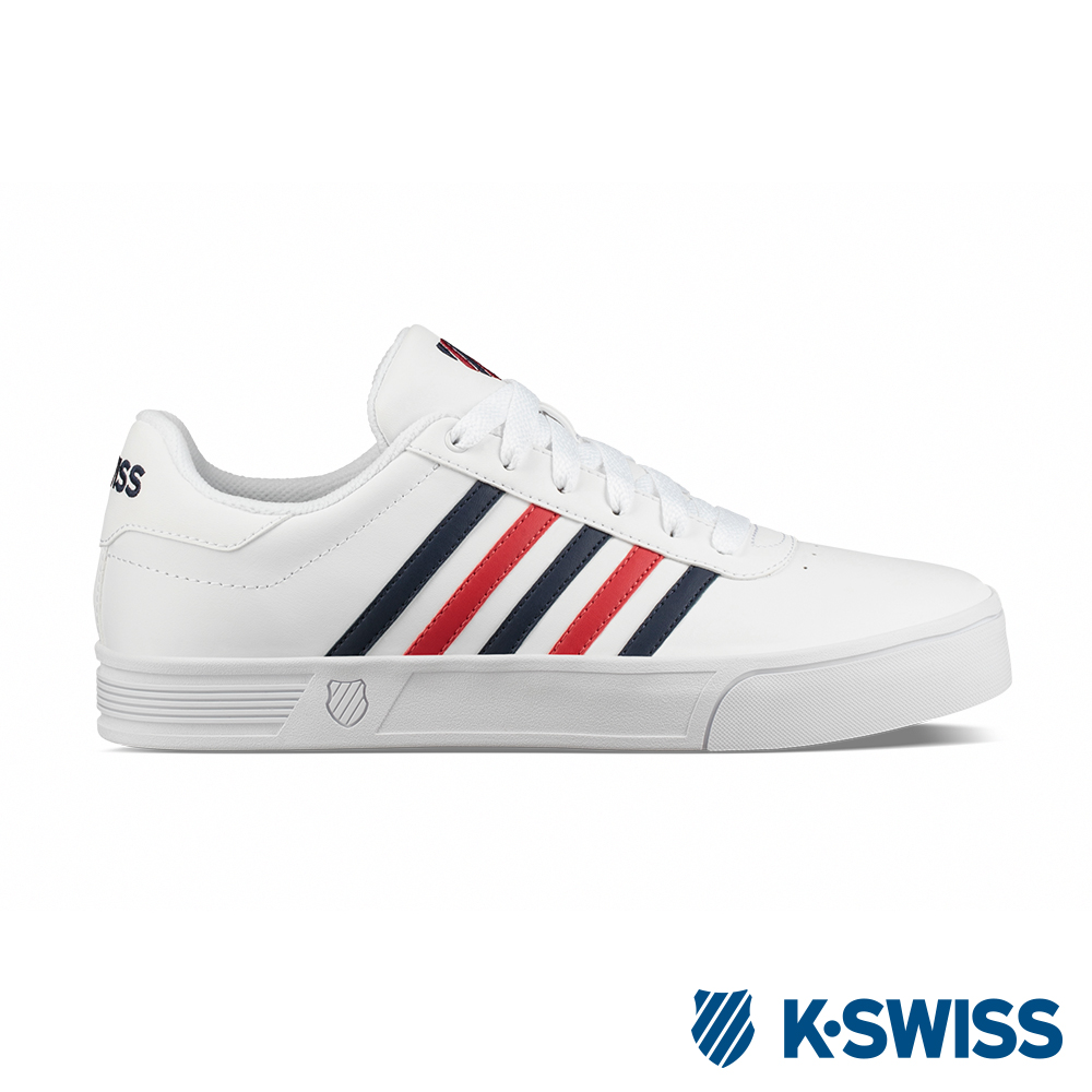 K-SWISS Court Lite Stripes運動鞋-男-白/紅/藍