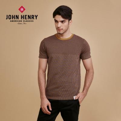 【JOHN HENRY】復古拼接菱紋T恤-棕