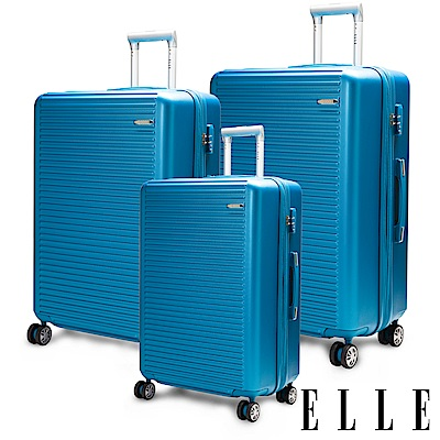 福利品 ELLE 裸鑽刻紋系列-20+24+28吋經典橫條紋ABS霧面防刮行李箱-海藍色
