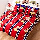 戀家小舖 / 雙人床包兩用毯組  俏皮泰迪紅  頂級搖粒絨  台灣製