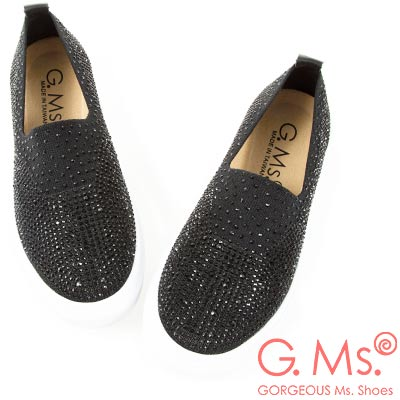 G.Ms. MIT系列-極輕量貼鑽針織布懶人休閒鞋-黑色