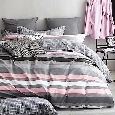 戀家小舖 / 雙人加大床包枕套組 精梳棉活性染-三款可選 100%精梳棉