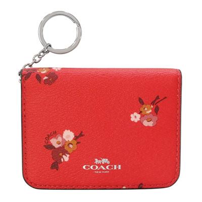 COACH果紅花紋內真皮附鎖圈釦式雙摺卡夾