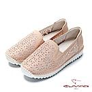 CUMAR悠遊輕井澤-水鑽裝飾花形鏤空休閒鞋-粉紅