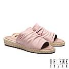 拖鞋 HELENE SPARK 簡約抓皺羊皮造型草編厚底拖鞋-粉