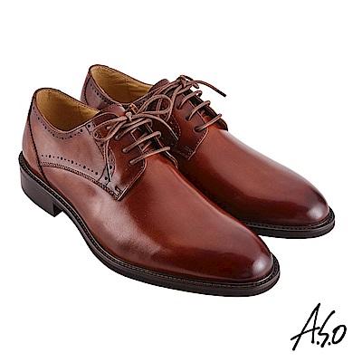A.S.O職場通勤 職人通勤刷色工藝德比紳士鞋-茶