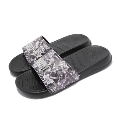 Puma 拖鞋 Popcat 20 Untamed 女鞋 銀豹 花卉圖案 夏日必備 外出方便 黑 銀 37510701