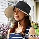 Sunlead 防吹落寬緣款。雙色護頸透氣抗UV寬圓頂防曬遮陽帽 (黑色/淺褐) product thumbnail 1