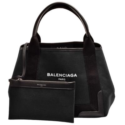 BALENCIAGA 經典NAVY系列帆布牛皮飾邊手提/斜背包(S-黑色)