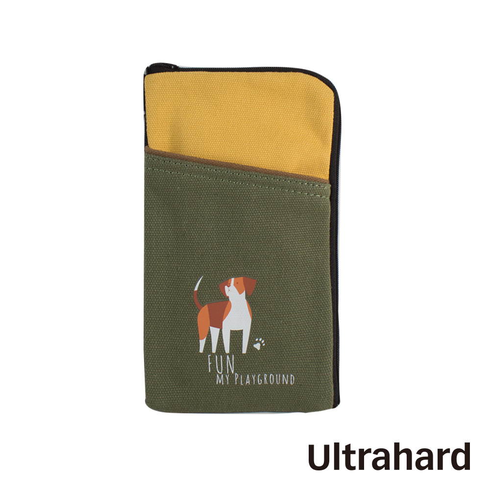 Ultrahard 竹林七閒手機袋- 狗(黃綠)