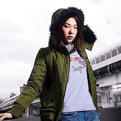 BIG TRAIN 羅紋毛裡連帽鋪棉外套-女-綠