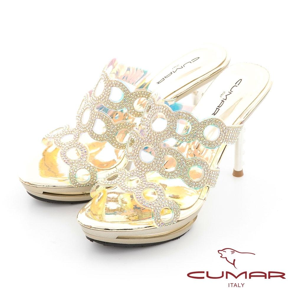 【CUMAR】雷射鏤空排鑽防水台高跟涼拖鞋-金