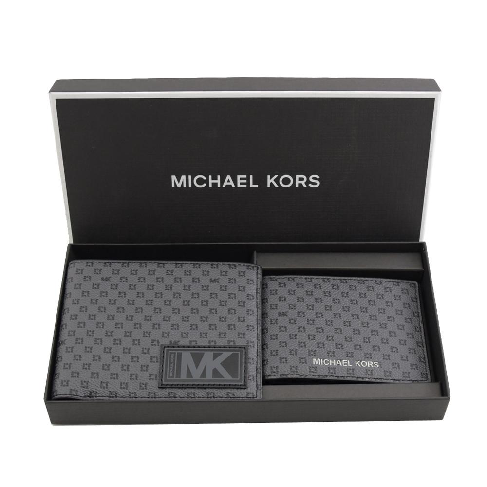 MICHAEL KORS GIFTING防刮PVC八卡對開短夾禮盒組(灰/黑)
