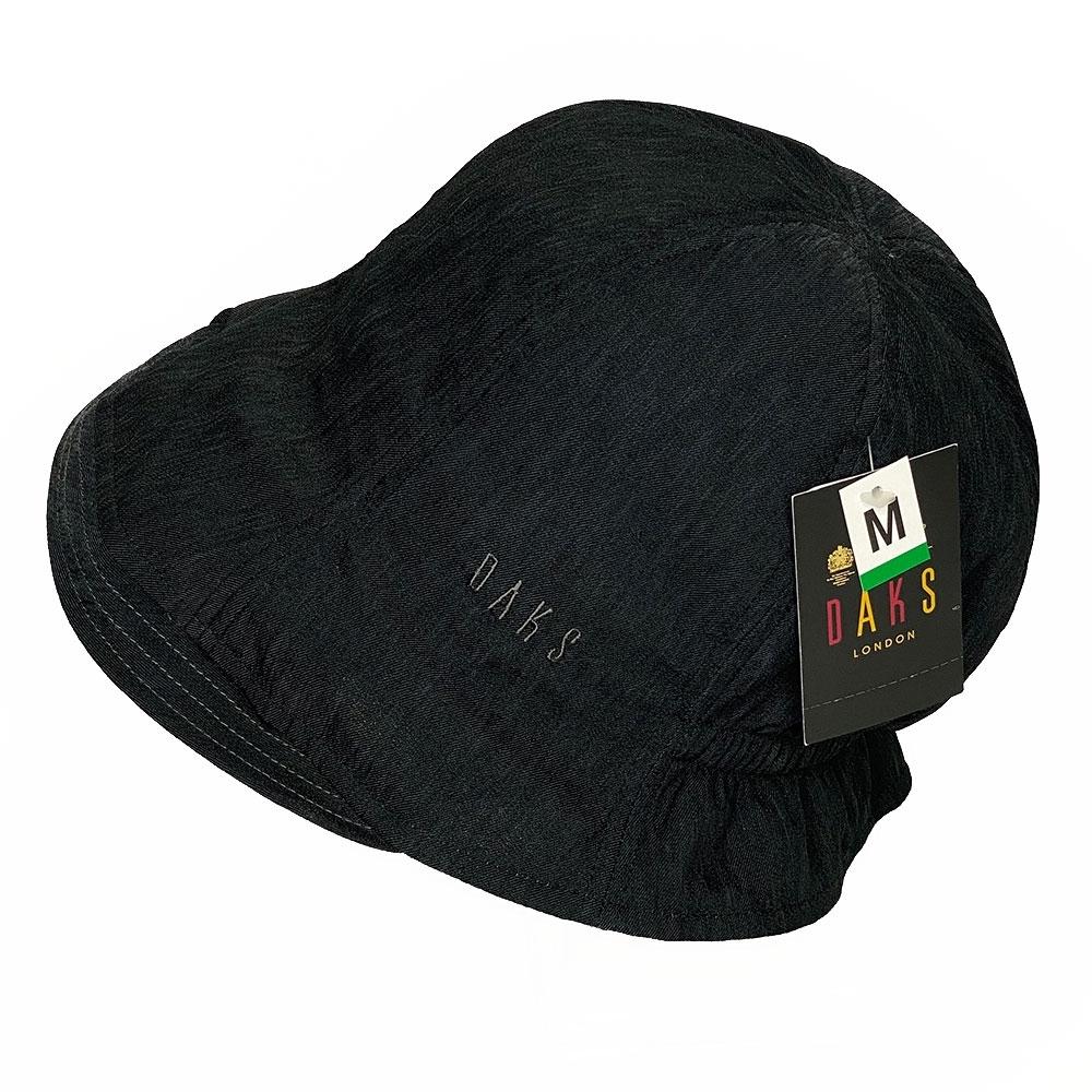DAKS 反摺格紋LOGO刺繡抗UV纖維造型帽(黑/內卡其格邊)