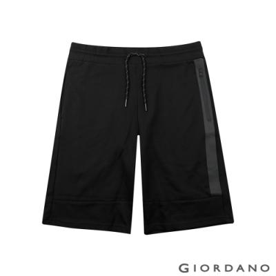 GIORDANO  男裝抽繩設計口袋五分褲 - 09 標誌黑