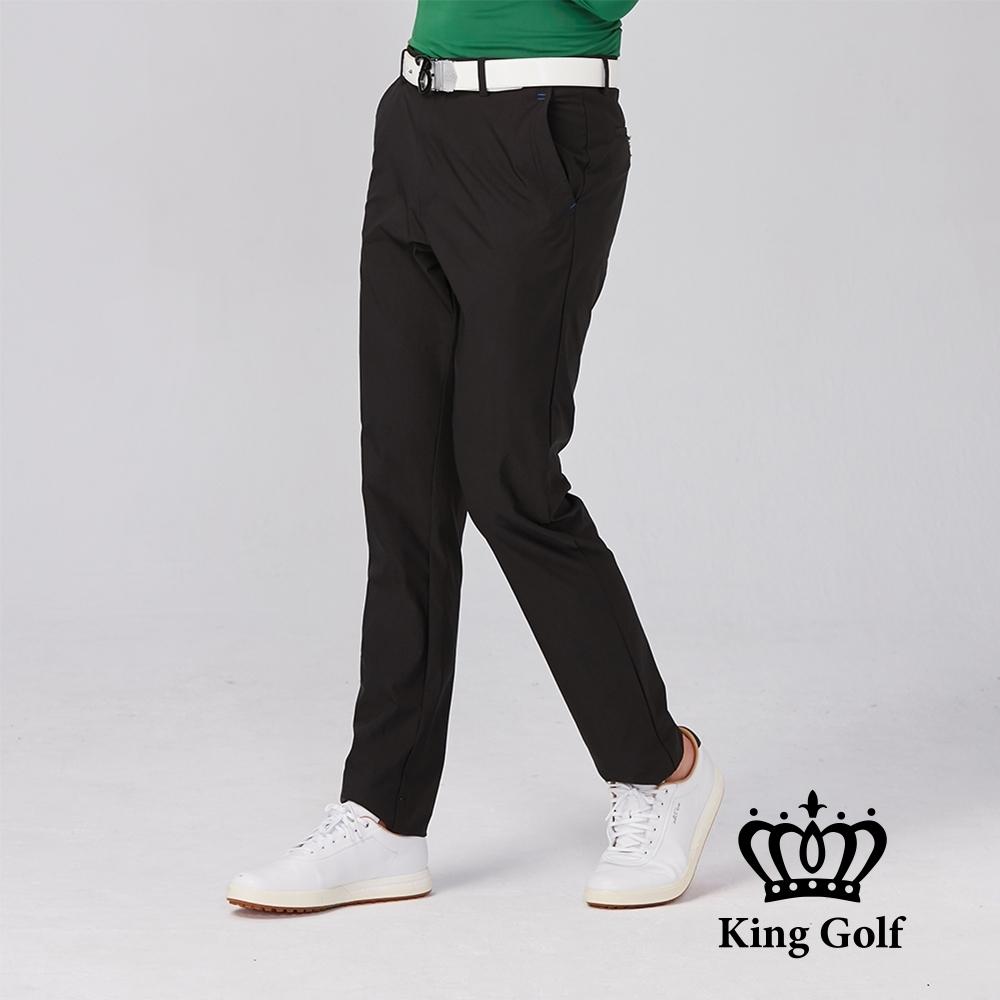【KING GOLF】修身立體剪裁彈性素面休閒長褲-黑色