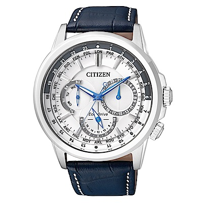 CITIZEN 時尚設計風光動能三眼計時錶-白面皮帶/BU2020-11A