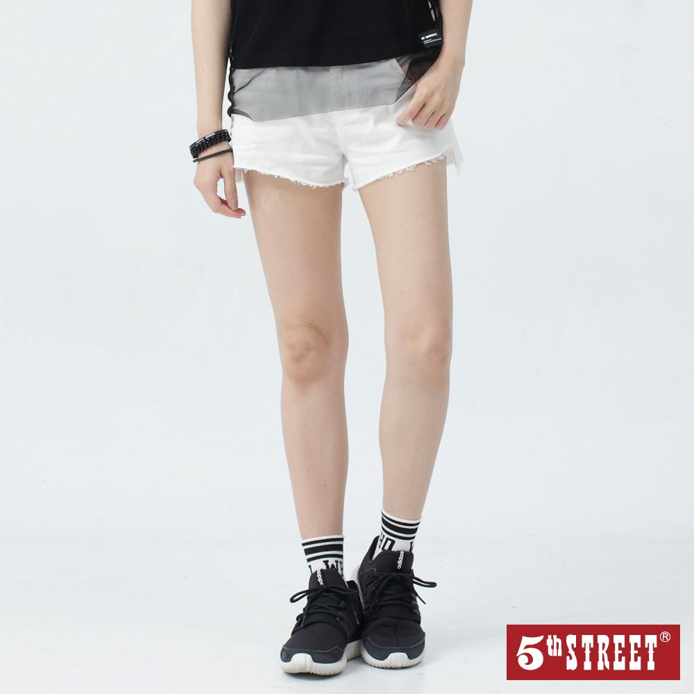 5th STREET 簡約抽鬚 休閒短褲-女-白色