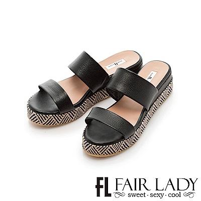 Fair Lady 一字編織圖騰厚底涼拖鞋 黑