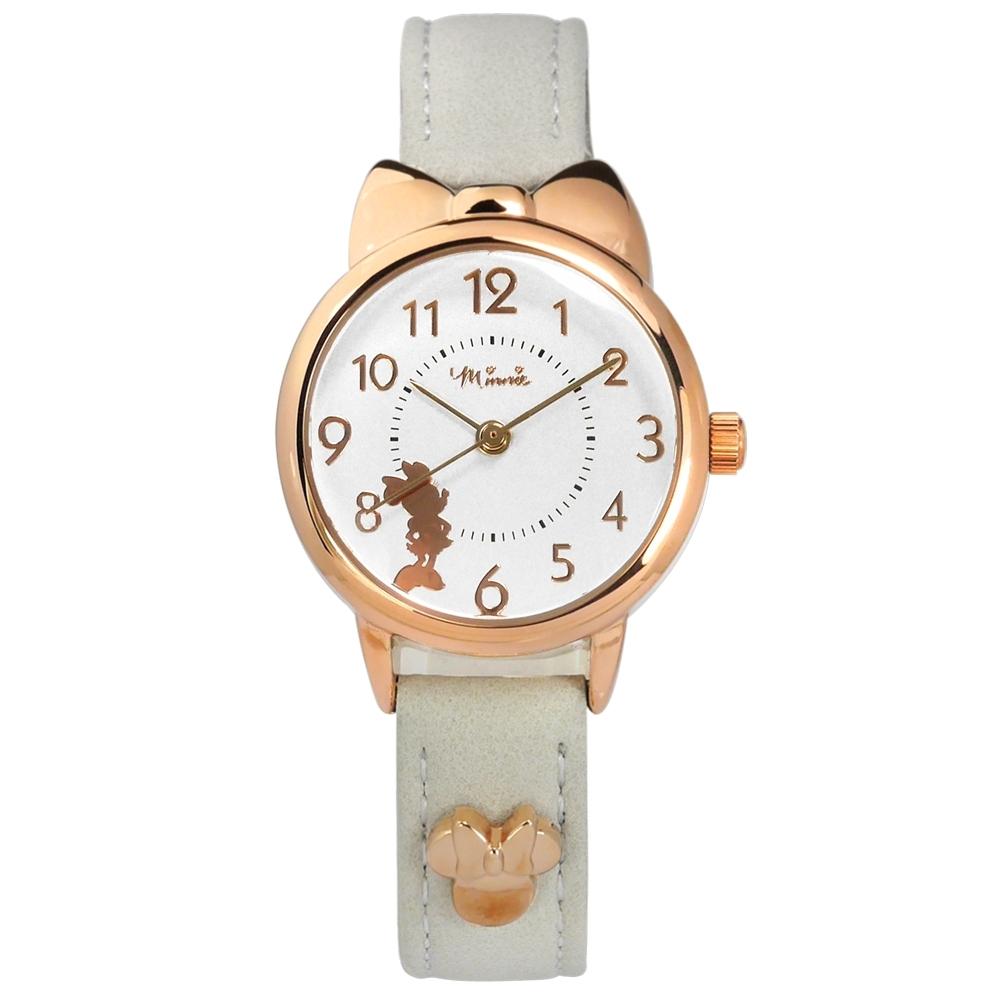 Disney 迪士尼 米妮剪影 蝴蝶結錶框 卡通 真皮手錶-銀x玫瑰金框x灰白/27mm