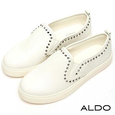 ALDO 原色彈性鬆緊帶綴鉚釘厚底休閒懶人鞋~率性白色