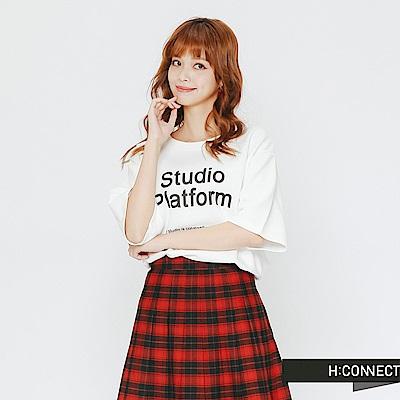 H:CONNECT 韓國品牌 女裝-標語圖像雙面T-shirt-白