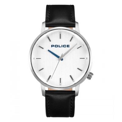 POLICE 簡約質感時尚皮革手錶-銀白X黑/42mm