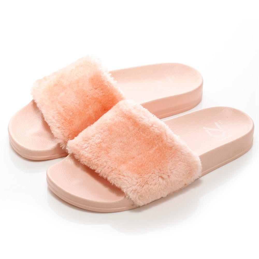 (女)KRUZIN 奢華毛毛拖鞋-粉