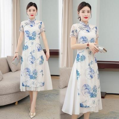 清雅藍白中式復古繡花旗袍洋裝M-4XL-REKO