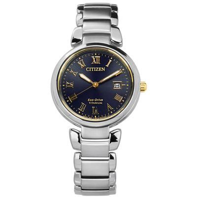 CITIZEN 限量 光動能 藍寶石水晶玻璃 日期 鈦金屬手錶-深藍色/29mm