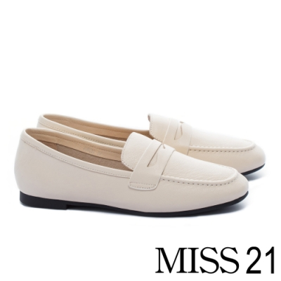 低跟鞋 MISS 21 復刻經典知性全真皮樂福低跟鞋-米